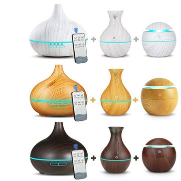 3Pcs Remote Control Electric Aroma Essential Oil Diffuser 7-Color LED Light Ultrasonic Air Humidifier Wood Grain Essential Diffuser