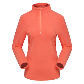 Women Fleece Turtleneck Long Sleeve Zipper Sport Pullover Coat
