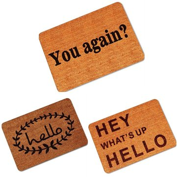 40x60cm Non Slip Rubber Floor Mat Funny Hey Hello Welcome Front Doormat Indoor Outdoor