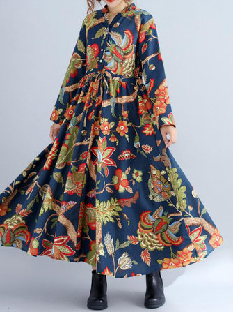 Vintage Women Long Sleeve Drawstring Waist Floral Printed Maxi Swing Dress