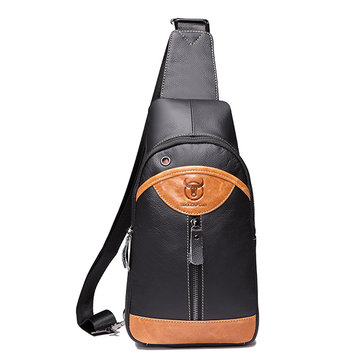 Large Capacity Men Genuine Leather Crossbody Bag Casual Chest Bag
