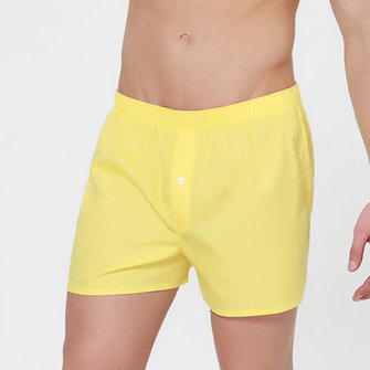 Hommes solides couleur Arrow Shorts Casual Home coton One Button Loose Fit respirant Boxers