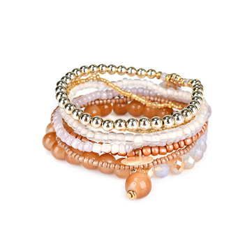 Bohemian Women Bracelet Crystal Beads Multilayer Bracelets Gift for Women
