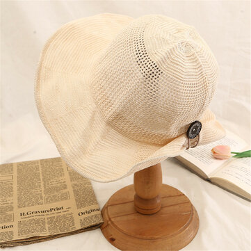 Women Summer Foldable Vacation Button Visor Hats Anti-UV Protective Straw Fishman Hat