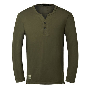 Men's V-Neck Solid Color Long Sleeve Causal Cotton T-shirts