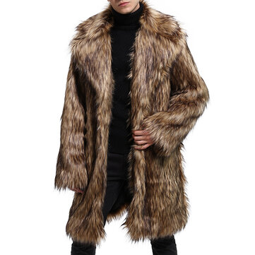 Mens Winter Warm Mid Long Large Lapel Collar Faux Fur Coat