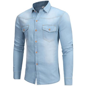 Mens Fashion British Style Fit Pockets Washed Denim Casual Shirts