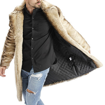 Men Winter Striped Faux Fur Coat Suit Collar Mid-long Jacket