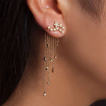 Trendy Pave Long and Short Tassel Earring Star Ear Jacket Silver Gold Dangle Earrings for Women