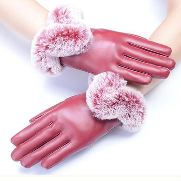 Vrouwen Dames Bont PU Lederen Handschoenen Scherm Touch Windproof Driving Mittens