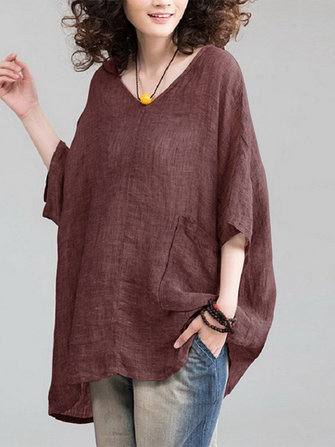Plus Size Vintage Solid Color V-neck Half Sleeve Blouse