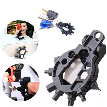 BIKIGHT 15 in 1 Stainless Steel Outdoor Multi Tool Phone Bracket Bicycle Screwdr