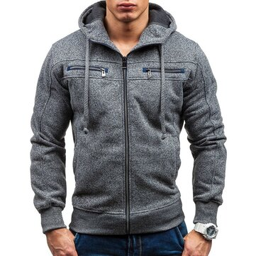 Men's Cotton Double Zipper Decoration Fashion Drawstring Casual Hoodies Long Sleeve Sweatshirts