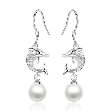 Fashion Ear Drop S925 Silver Dolphin Earring Simple Tasse Diamond Earrings Women Ear jewelry