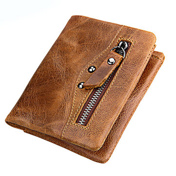 Men Genuine Leather RFID Blocking Secure Short Wallet Vintage Casual Business Wallet