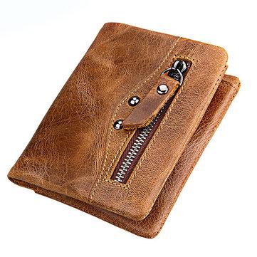 MannenEchteLeerRFIDBlokkerendeVeilige Korte Portemonnee Vintage Casual Zakelijke Portemonnee