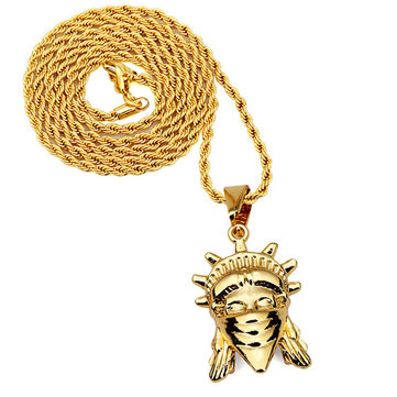 Punk Gold Color Alloy Statue of Liberty Pendant Necklace