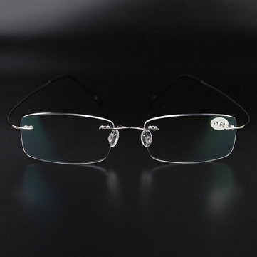 Ultra-light Alloy Glasses Frame Stainless Steel Rimless Reading Glasses