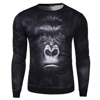 Mens Orangutan 3D Animal Printing O-neck Fashion Casual Autumn Long Sleeve Sweatshirt