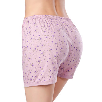 Plus Size Loose High Rise Floral Printed Cotton Breathable Thin Women Boyshorts