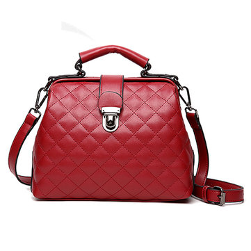 Stylish Doctor Bag Vintage Shoulder Bag PU Leather Crossbody Bag Phone Bag