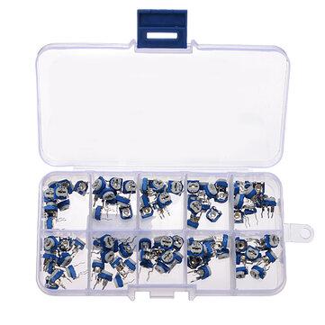 3 x 100pcs RM065 Horizontal Trimpot Potentiometer Assortment Kit With Storage Box