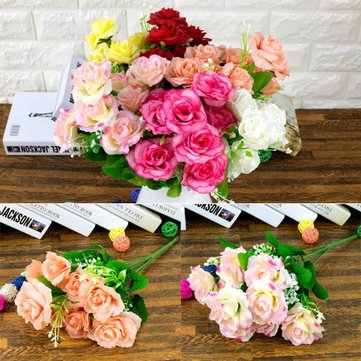 Colorful Brides Bouquet Artificial Silk Rose Flower Home Wedding Party Decor
