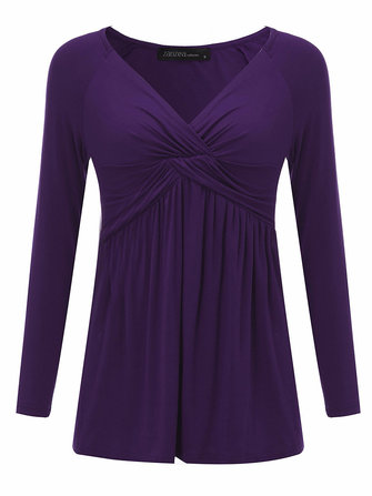 Sexy Women Ruffled Pure Color Long Sleeve V-Neck Shirt