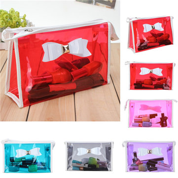 Transparent PVC Makeup Bag Bow Tie Travel Cosmetic Handbag Case Storage