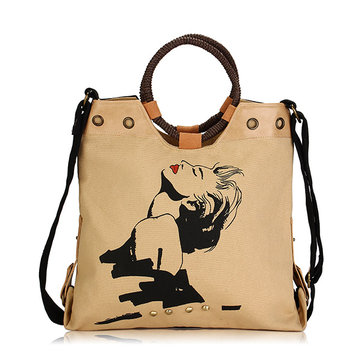 Women Canvas National Wind Handbag Crossbody Bag