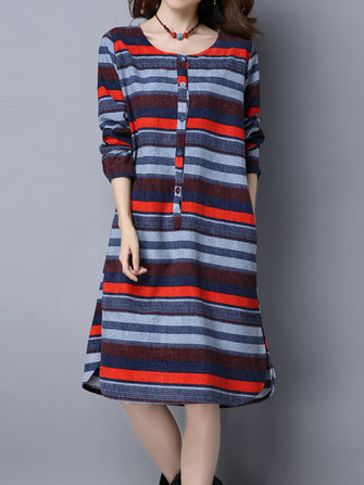 Vintage Stripe Long Sleeve Thicken Velvet Loose Women Dress