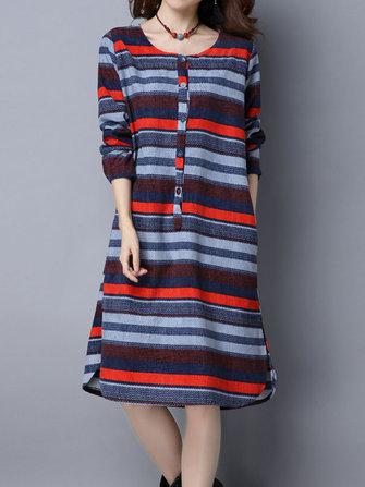 Марочные полоса длинный рукав сгущать бархат свободные платья женщин
