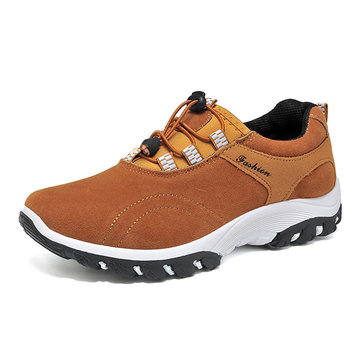 Casual Men Lace Up Flat Sport Shoes In Suede