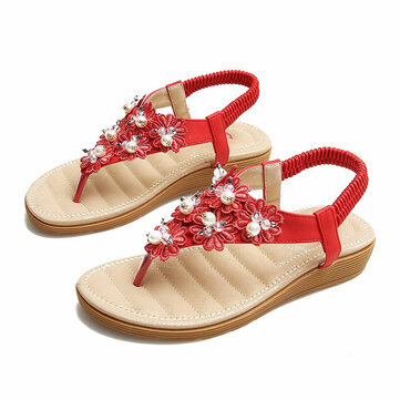 Bohemian Beaded Slip On Beach Flat Sandals