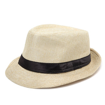 Mens Fedora Panama Wide Brim Trilby Straw Hat Sun Beach Cap Travel Black Ribbon Sunhat