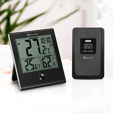 DIGOO DG-TH1180 LCD Negative Indoor Outdoor Digital Thermometer Hygrometer Acrylic Scratchproof Panel Temperature Humidity Monitor