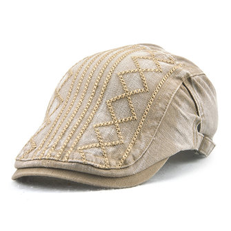 Mens Breathable Cotton Washed Beret Hat Stripe Paper Boy Newsboy Cabbie Golf Cap Adjustable