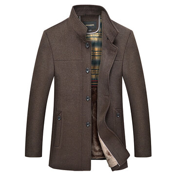 Mens Wool Thick Detachable Fur Collar Mid-long Jacket Single-breasted Solid Color Coat