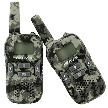 RT33 2 pcs Camouflage Mini Walkie Talkie Kids Two Way Radio 22CH 0.5W PMR446 USB Charging