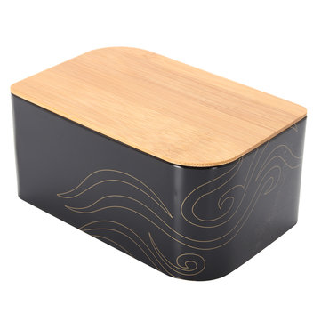 Black Vintage Metal Bread Tea Storage Bin Candy Container Boxes Kitchen Storage Container