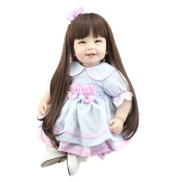 NPK 21 Inch 55cm Long Hair Reborn Baby Soft Silicone Doll Handmade Lifelike Baby Girl Dolls Play House Toys Birthday Gift