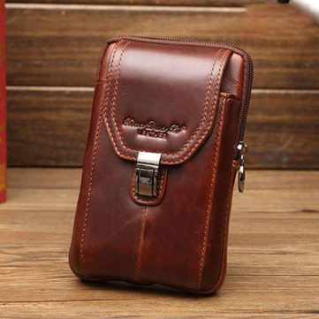 Men Business Waist Bag Genuine Leather Casual 5.2/5.7/6 Inches Phone Bag Shoulder Crossbody Bag