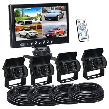 9 Inch Quad Split Screen Monitor And Backup Car Rear View Camera System For Truck