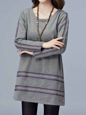 Ethnic Stripe Velvet O-Neck Long Sleeve Loose Women Gray Black Dress