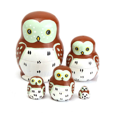 5PCS Wooden Madness Russian Babushka Matryoshka Owl Pattern Doll Nesting Doll Kids Collection Toy