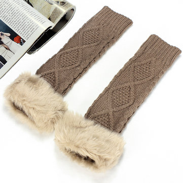 Zanzea Womens Winter Faux Fur Fingerless Long Sleeve Gloves