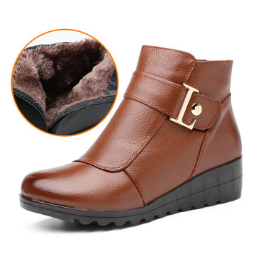 Fur Lining Warm Zipper Ankle Short Boots For Women