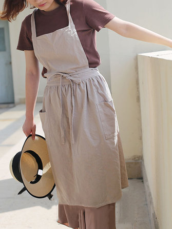 Women Vintage Japanese Style Cotton Linen Aprons Dress with Pockets