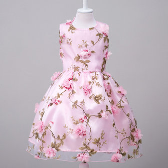 Kids Girl Floral Sleeveless Party Dress