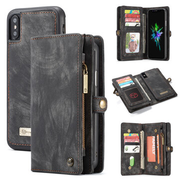 Caseme Magnetic Detachable Zipper Wallet Cash Pocket Card Slots Protective Case For iPhone XS Max